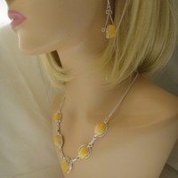 Striking Golden Butterschotch Amber Necklace and Earring Set