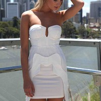 White Strapless Dress with Chiffon Overlay Detail