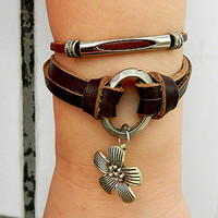 Metal flowers   Adjustable bracelet-antique silver bracelet Cowhide Leather hipster jewelry leather bracelet wooden  bead and hollowed tube
