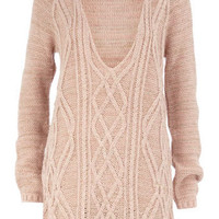 Blush cable v-neck jumper - Knitwear &amp; Cardigans - Clothing - Dorothy Perkins