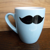 Moustache mug in blue by Mr Teacup by MrTeacup on Etsy