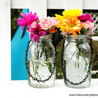 Hanging Mason Jar Flower Vases With Frog Lids - Set of 2