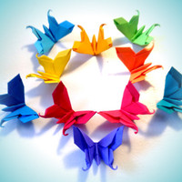 20 Medium Paper Origami Rainbow Swallowtail Butterflies