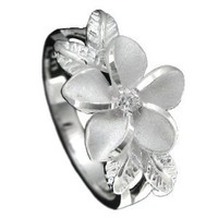 Amazon.com: 925 Silver Plumeria w/ Maile Leaf Ring Hawaiian Jewelry: Jewelry