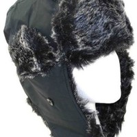Amazon.com: Black Weatherproof Warm Nylon Faux Fur Pilot Aviator Trooper Trapper Aviator Hat for Men and Women with Complete Inner Faux Fur Lining: Clothing