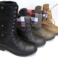 Refresh Terra 01 women lace up foldable collar plaid cuffed mid calf combat boot