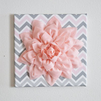 "Wall Flower Decor -Light Pink Dahlia on Pink and Gray Chevron 12 x12"" Canvas Wall Art- Baby Nursery Wall Decor-"