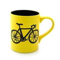 Bike Mug Bicycle Mug in Yellow Black Interior