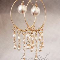 cyber monday sale Bridal Chandelier Earrings, Gold Earrings, Pearl Wire wrapped, Wedding Earrings, Bridal Earrings, Pearl Earrings