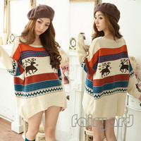 Women's Fairisle Nordic Reindeer Sweater Knits Shirt Blouse Tops Outerwear Block