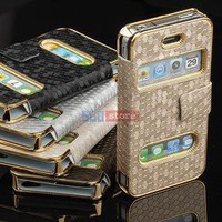 Luxury Synthetic Leather Magnetic Chrome Flip Case Cover Pouch Fr iPhone 4 4G 4S