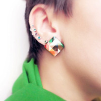 Abstract Geometric earring posts - colorful triangle