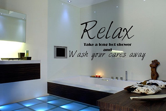 Wall decal quote relax bathroom shower from whimsywalldecals on - Stickers carreaux salle de bain ...
