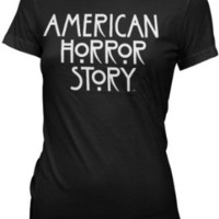Amazon.com: American Horror Story - Womens Stacked Type Logo T-shirt in Black: Clothing