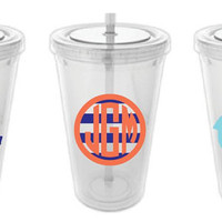 Personalized Monogram Tumbler 20 oz with Nautical or Anchor Theme Monogram
