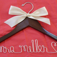 Personalized Custom Bridal Hanger Brides Hanger by twobroadsdesign - StumbleUpon