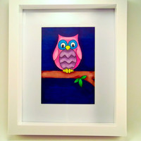 Original Illustration Art of pink owl - including mount