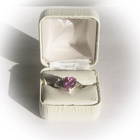 10 K Gold Ring with Large Pink CZ Center Stone