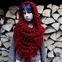 The Fringe Cowl neck scarf Vegan Red Ridding hood by BessetteArt