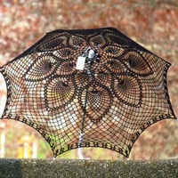 30 Black Lace Crochet UMBRELLA PARASOL Fall accesory by kolus79
