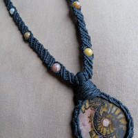 Ammonite with Moonstone - Hemp Macrame Necklace - Natural Hippie Bohemian