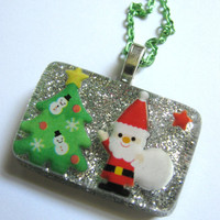 Christmas Santa Is Here Resin Necklace