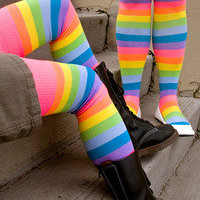 Socks By Sock Dreams  » Socks » Neon Acrylic Rainbow Thigh Highs