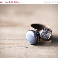 Stacking rings - Full moon & Pluto - SET of 2 - Space jewelry (R053)
