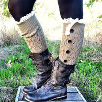 Button Down Leg Warmers Boot Socks Lacy Knitted LegWarmers with Crochet Lace Trim