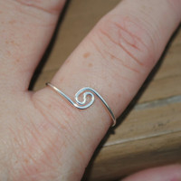 Adjustable Wire Wrapped Ring Tiny Silver Yin Yang Swirl