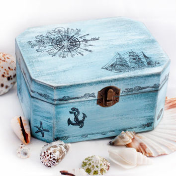 Sea Treasury Pirate Wooden Box, Keepsake box, Memory box. Dimensions - 6 1/2 / 5 / 3 1/2 ""