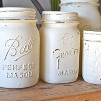 Set of 5 Hand Painted White Mason Jars