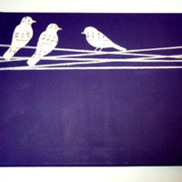 Birds on a Wire handmade canvas