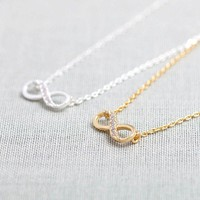 Tiny Infinity Necklace in Gold/silver