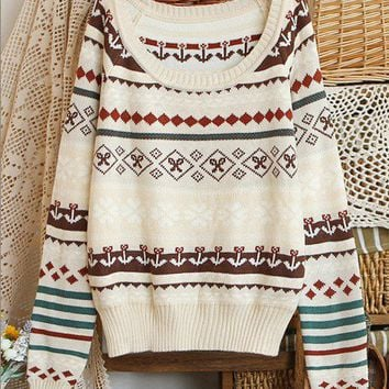 Holiday Winter Woolen Ribbon Pattern Ivory Sweater
