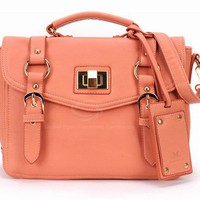 Laconic Fashion Women's Handbag With Solid Color Blets Twist Lock Design