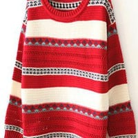 X' mas Geometric Round Neck Sweater Red S007921