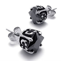 Titanium Steel Black CZ Stud by Hallomall