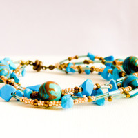 Boho chic Turquoise chunky multi layered beaded by CallOfEarth
