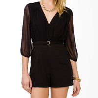 Two-Tone Surplice Romper w/ Belt