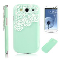 Pandamimi Deluxe Green Cover with White Lace for Samsung Galaxy S3 I9300 - At & T, T Mobile, Sprint, Verizon, U.s.cellular