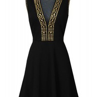 Mesh Gold Studded Dress in Black