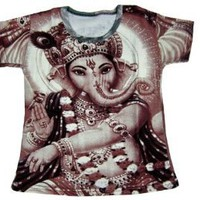 Amazon.com: Tee Shirt Ganesha Print Hippie Boho Cotton Kids Wear Yoga T-shirt: Clothing