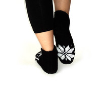 Christmas Handknitted Wool Black and white wool Slippers