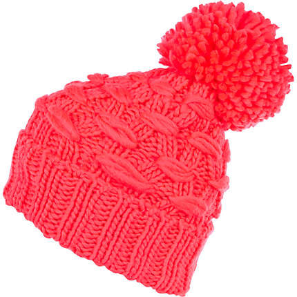 Bright coral basket weave beanie hat