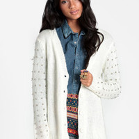 Times Up Studded Cardigan - $65.00 : ThreadSence, Women&#x27;s Indie &amp; Bohemian Clothing, Dresses, &amp; Accessories