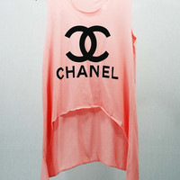 CHANEL COCO CHANEL T Shirts Tank Top Tunic Blouse high waist women handmade silk screen printing Logo