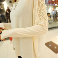 OASAP - Batwing Sleeve Lace Detailed Chiffon T-shirt - Street Fashion Store