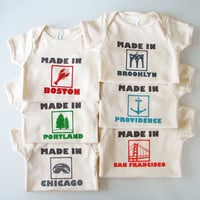 Made in YOUR CITY Onesuit (pick your place and size) - Baby Onesuit