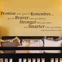 Promise Me You&#x27;ll Remember Winnie the Pooh Quote Wall Decal 12&quot;h X 35&quot;w